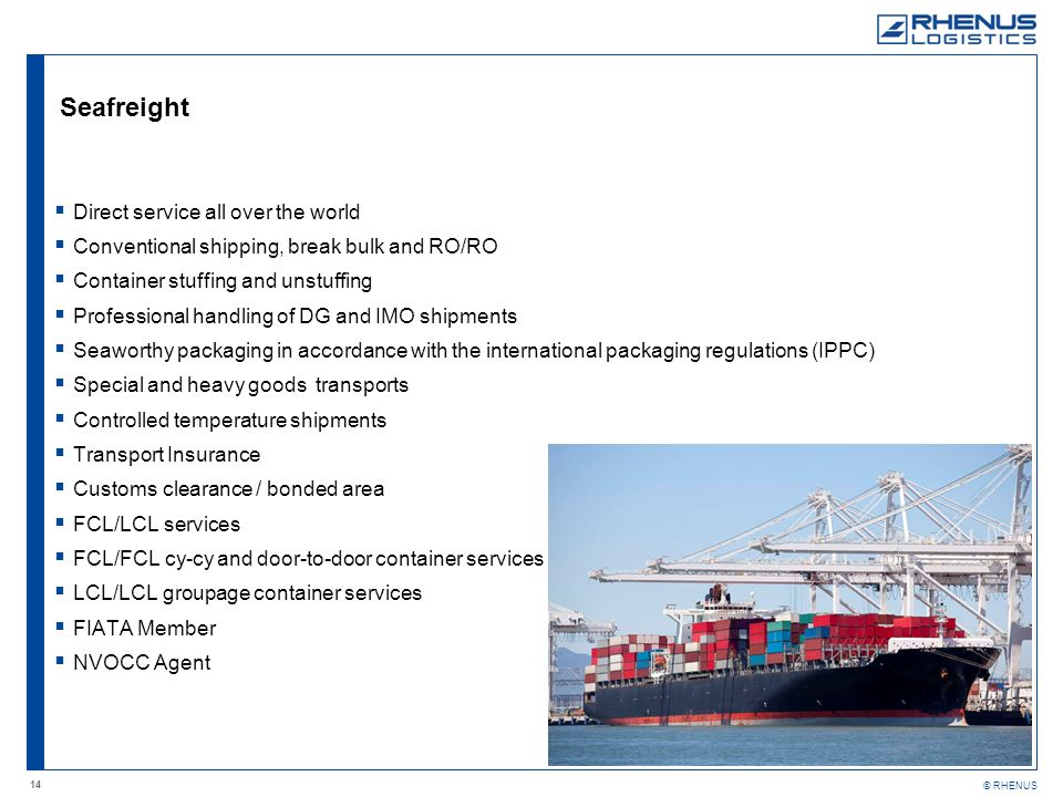 Seafreight Direct service all over the world