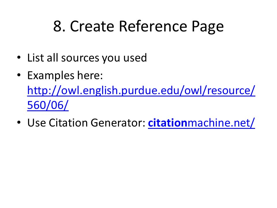 how to write a reference page