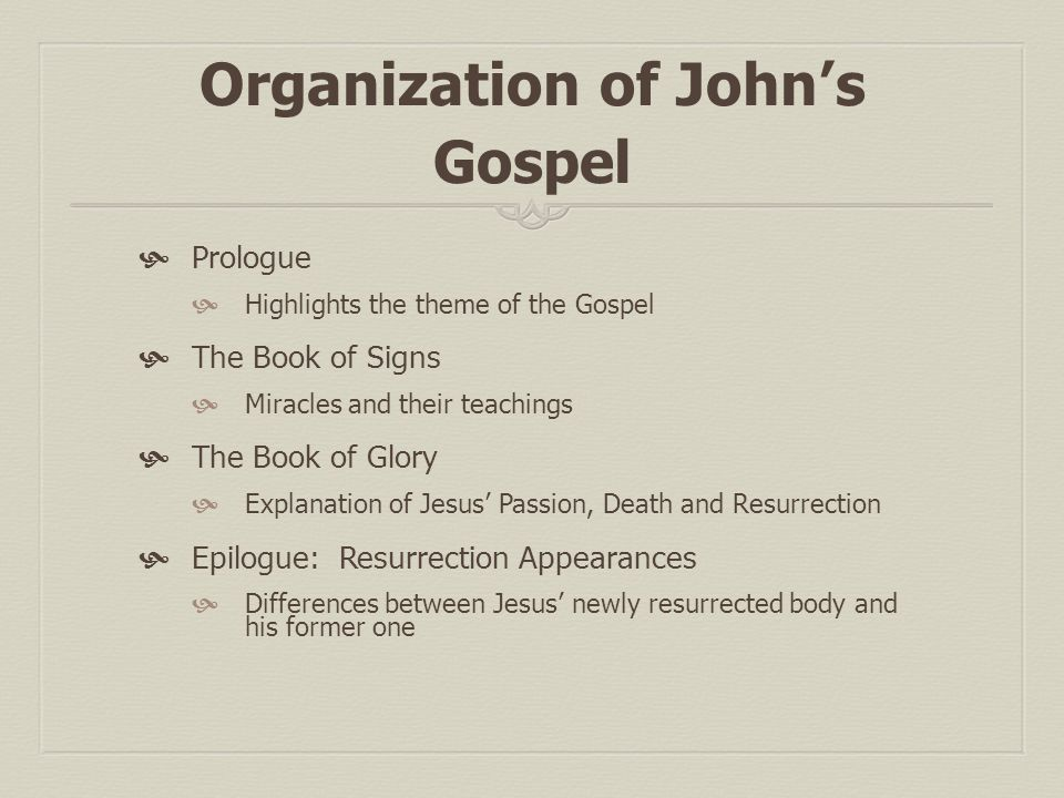 miracles of the gospel of john This theme plays out more than once in the gospel of john the idea that seems  pretty clear is that jesus is trying delay the timing of these.