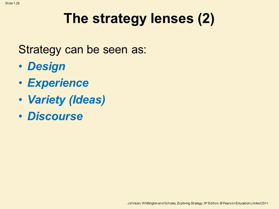 strategy lenses design experience ideas The ideas lens emphasises the importance of promoting diversity in and around organisations, which can potentially generate genuinely new ideas strategy as discourse this lens sees strategy in terms of language.