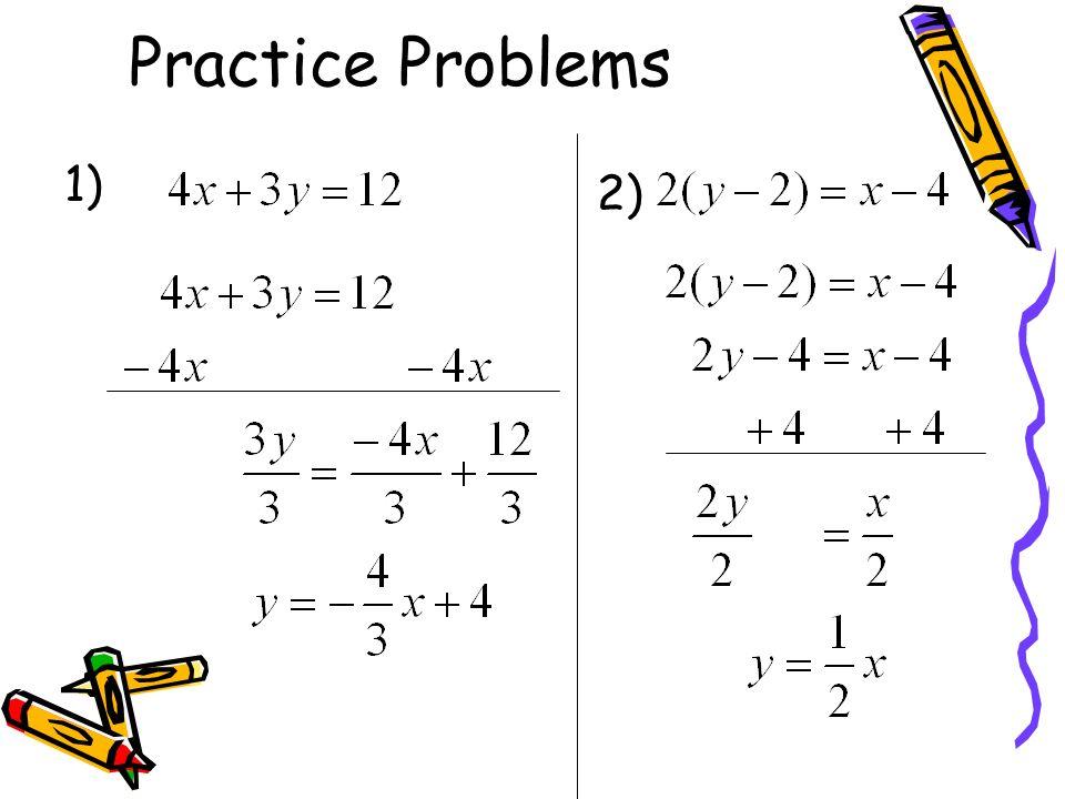 Practice algebra problems
