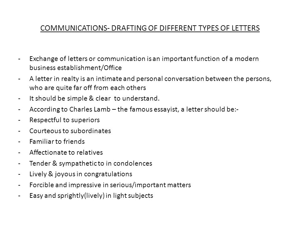 COMMUNICATIONS DRAFTING OF DIFFERENT TYPES OF LETTERS ppt download – Types of Office Communication