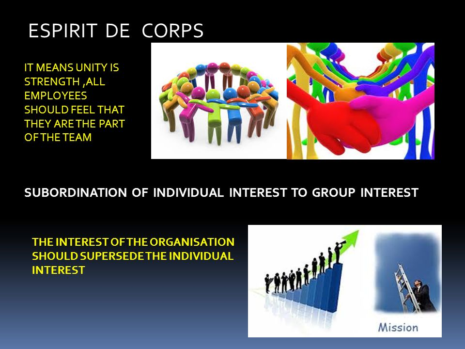 ESPIRIT DE CORPS IT MEANS UNITY IS STRENGTH ,ALL EMPLOYEES SHOULD FEEL THAT THEY ARE THE PART OF THE TEAM.