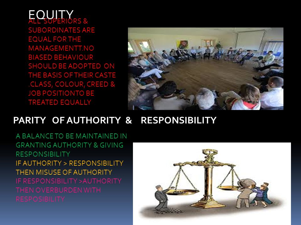 EQUITY PARITY OF AUTHORITY & RESPONSIBILITY