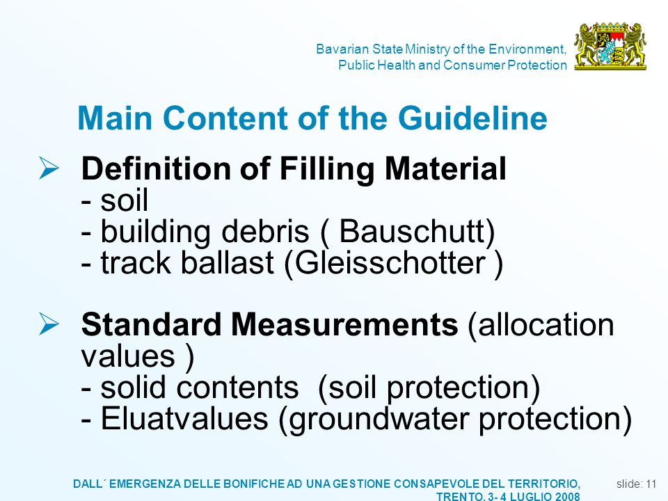 Main Content of the Guideline