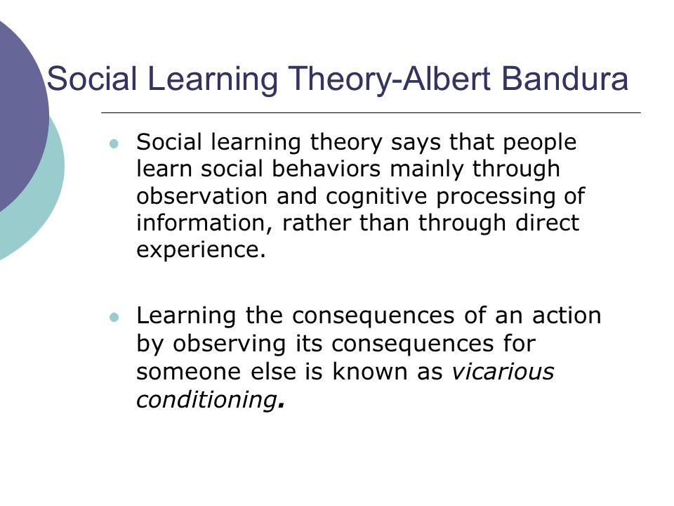 Social Learning Theory Bandura Social Learning Theory