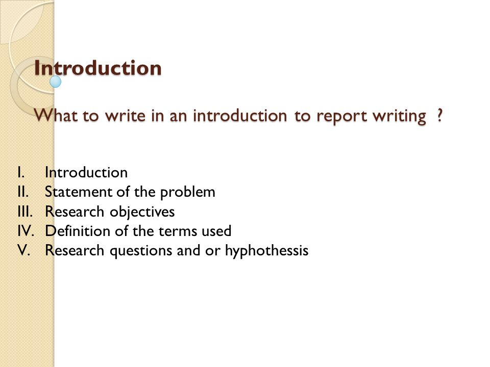 introduction of report writing