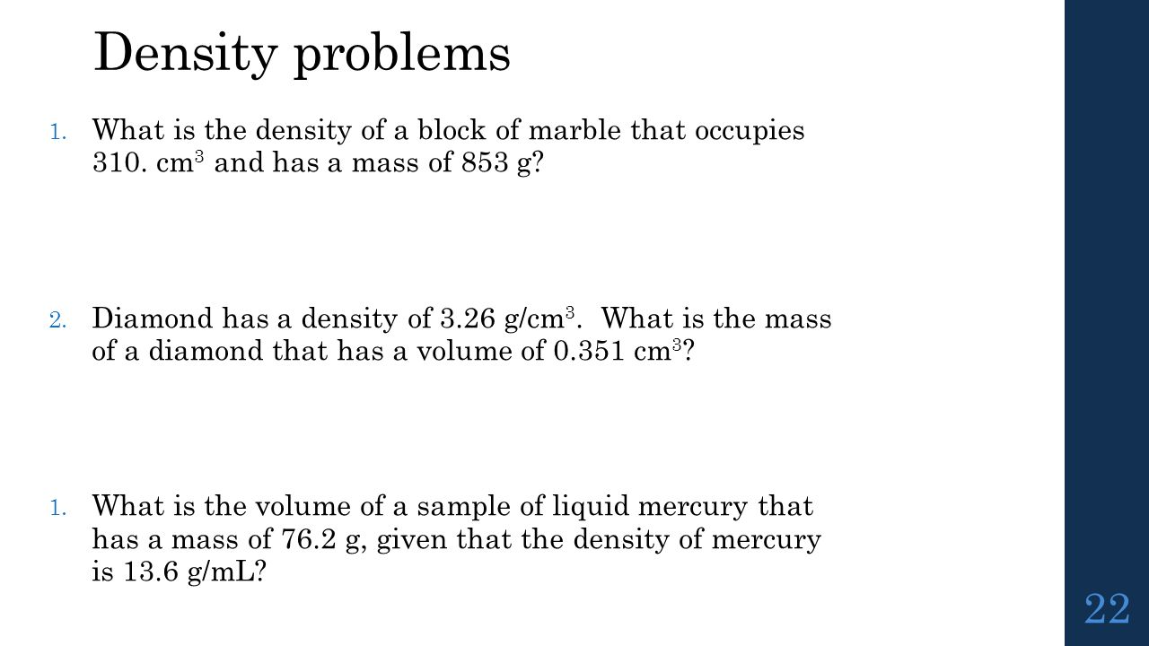 how to find the density of a marble