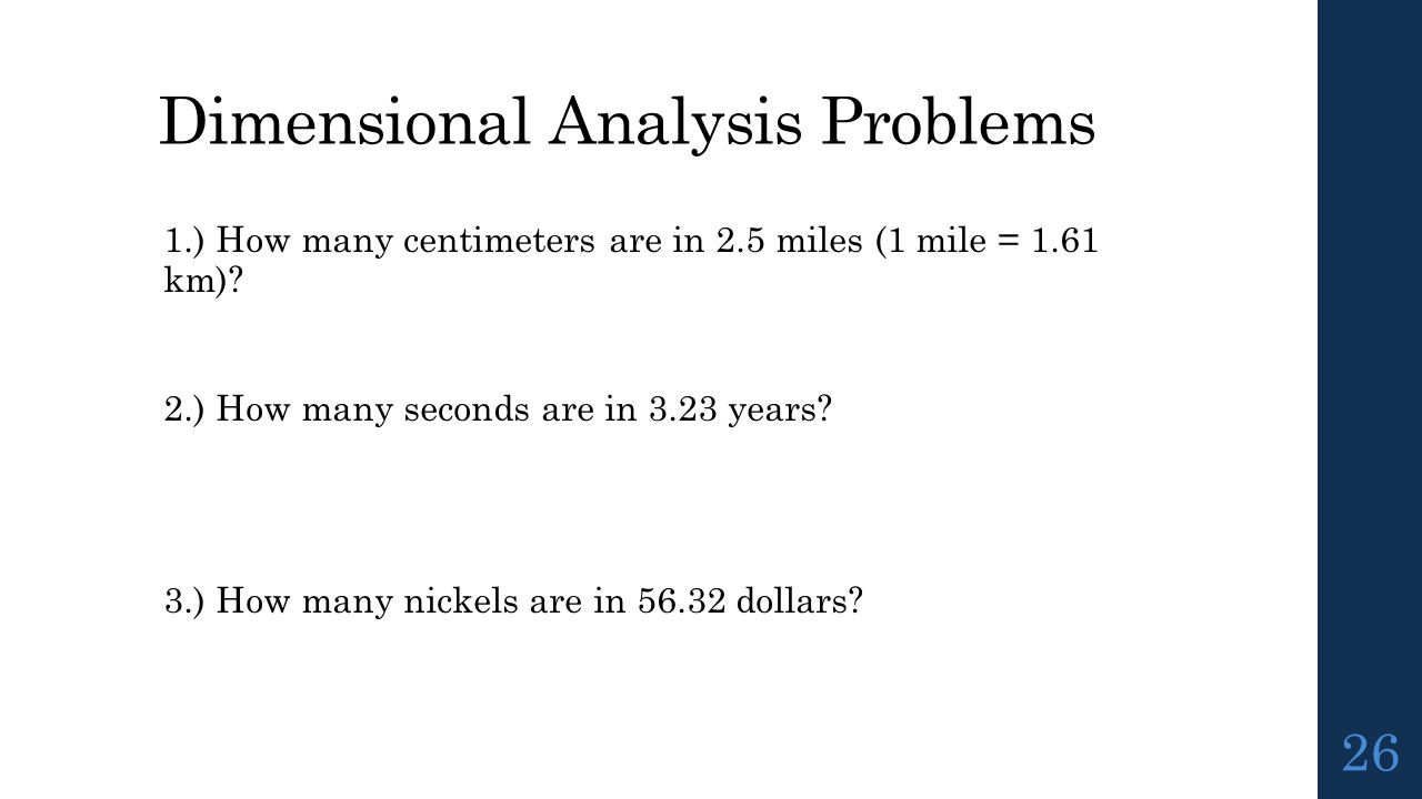 Dimensional analysis problems worksheet answer key