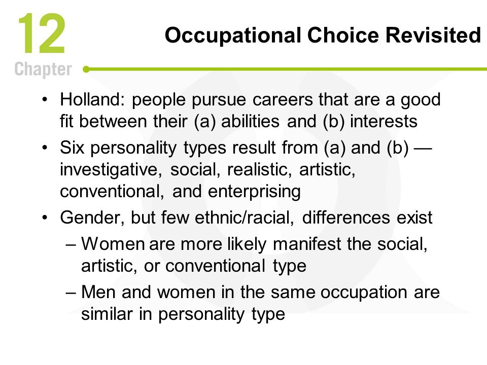 occupational choice personality matters The effect of family background on occupational choice  the examination of personality traits within the field of economics is an important step  occupational choice: personality matters.