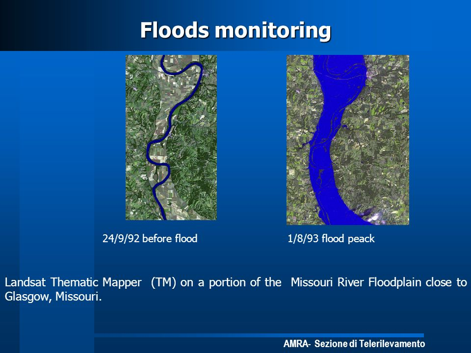 Floods monitoring 24/9/92 before flood. 1/8/93 flood peack.