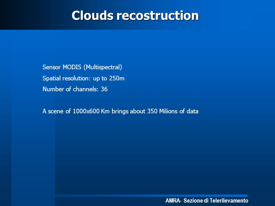 Clouds recostruction Sensor MODIS (Multispectral)