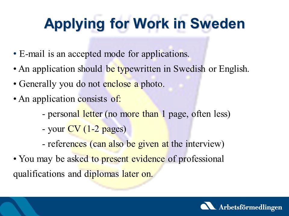 Applying for Work in Sweden