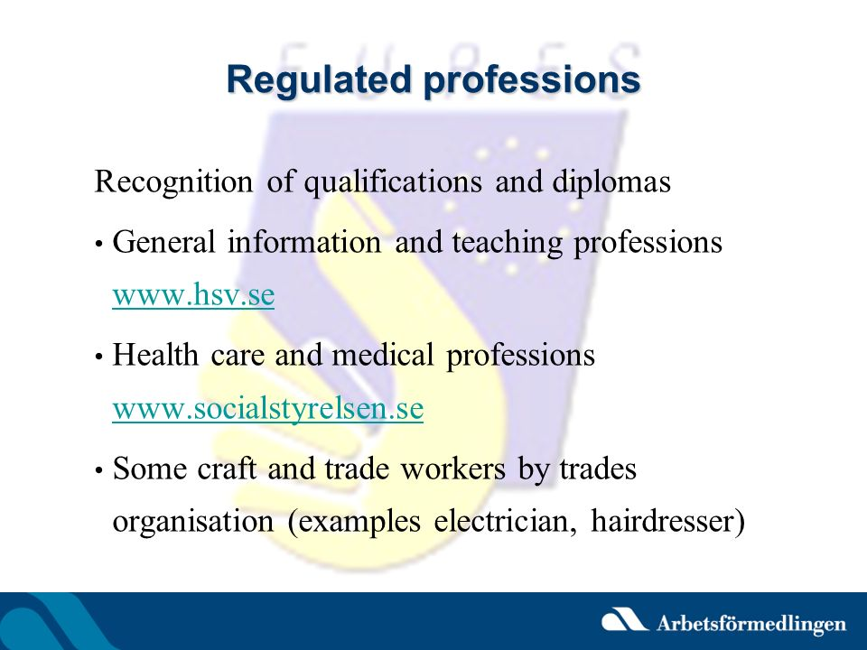 Regulated professions