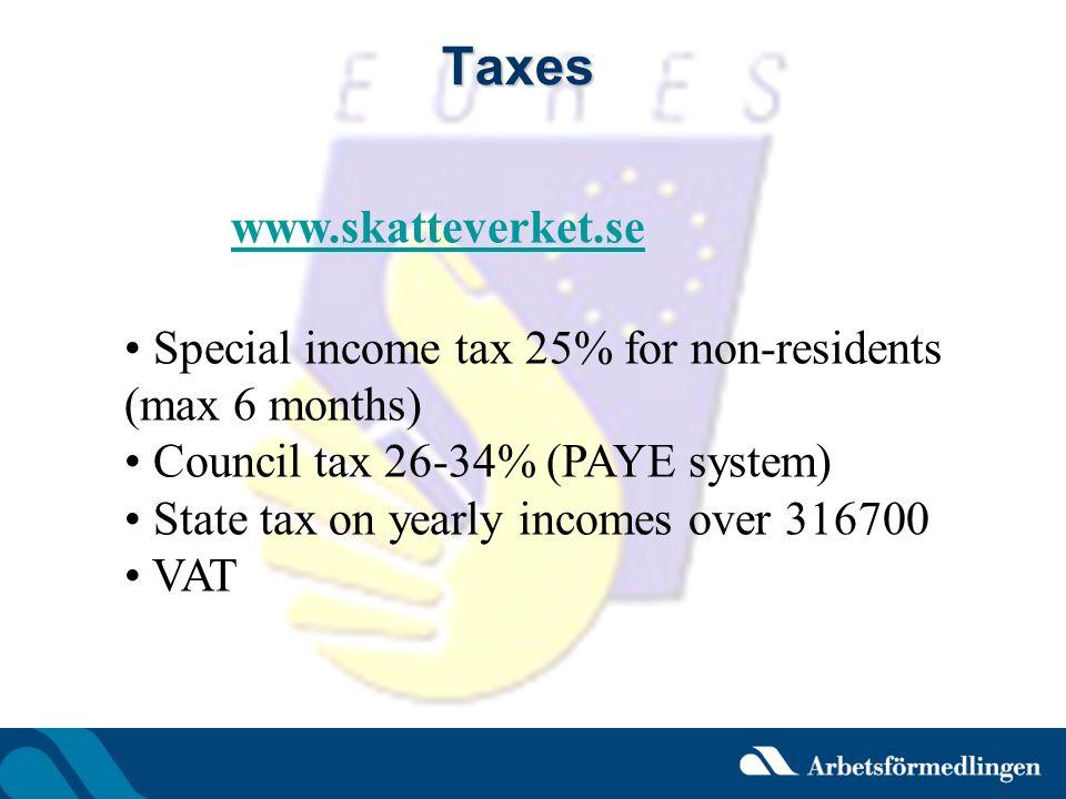 Taxes www.skatteverket.se