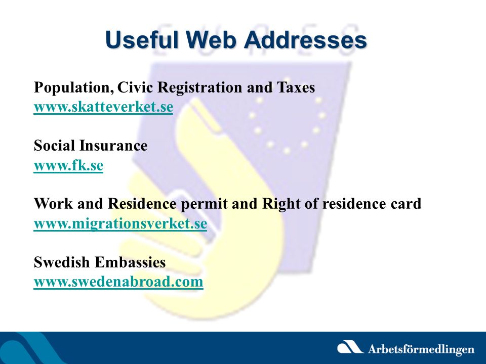 Useful Web Addresses Population, Civic Registration and Taxes