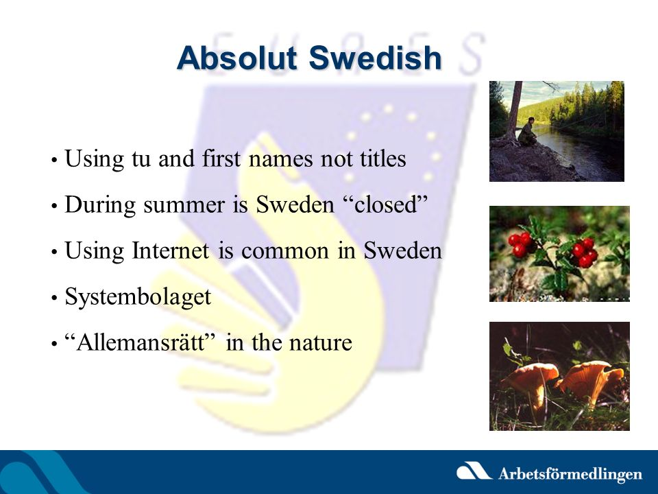 Absolut Swedish Using tu and first names not titles