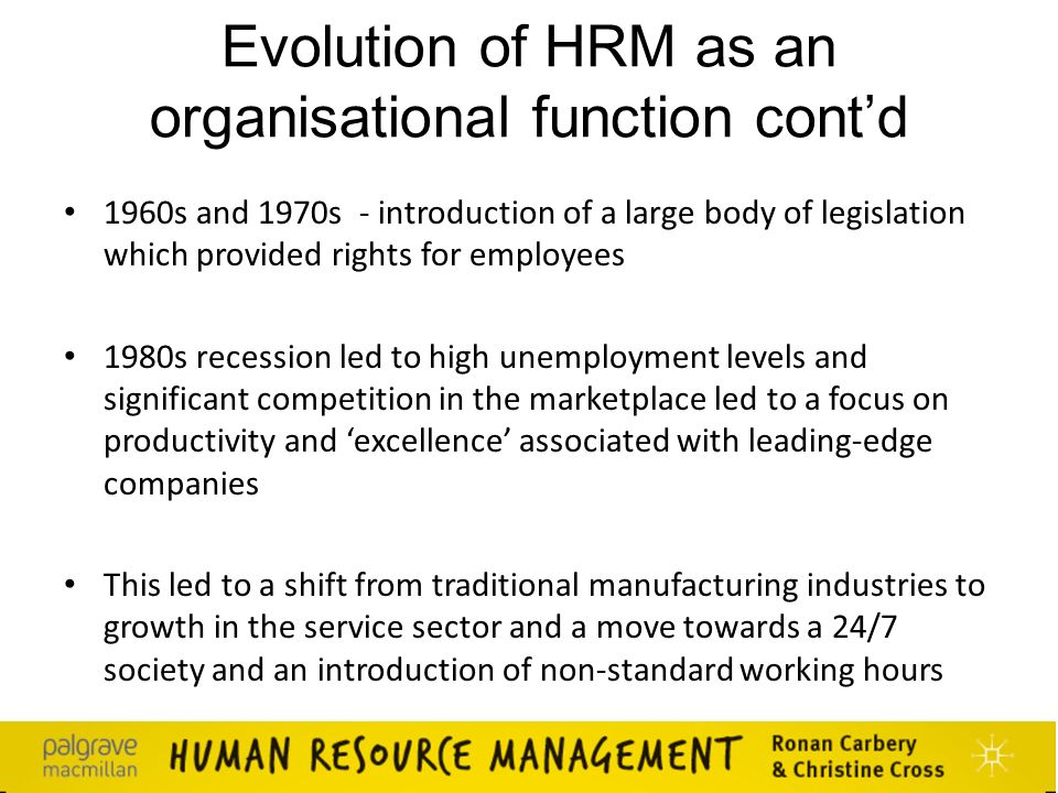 evolution of personnel towards hrm Human resource management evolution of hrm hrm-type themes, including 'human capital theory' and 'human asset accounting' can be found in literature dating.