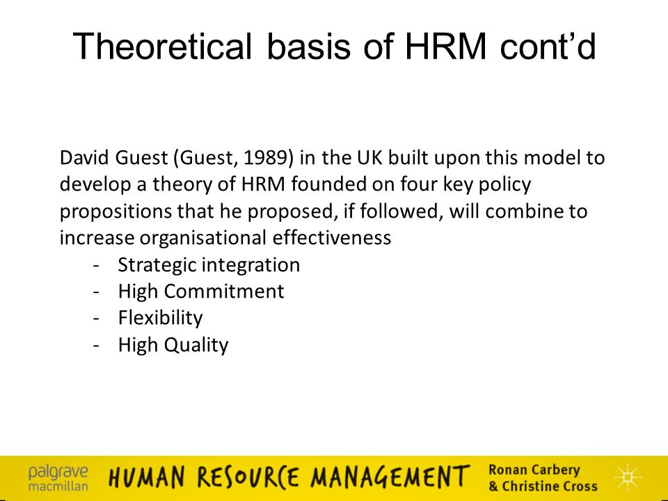 david guest hrm model 2 jaap paauwe, patrick wright and david guest  configurational  models of hrm as predictors of firm performance among a sample.