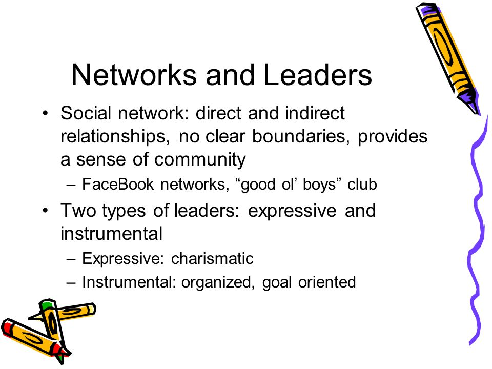 Networks and Leaders Social network: direct and indirect relationships, no clear boundaries, provides a sense of community.