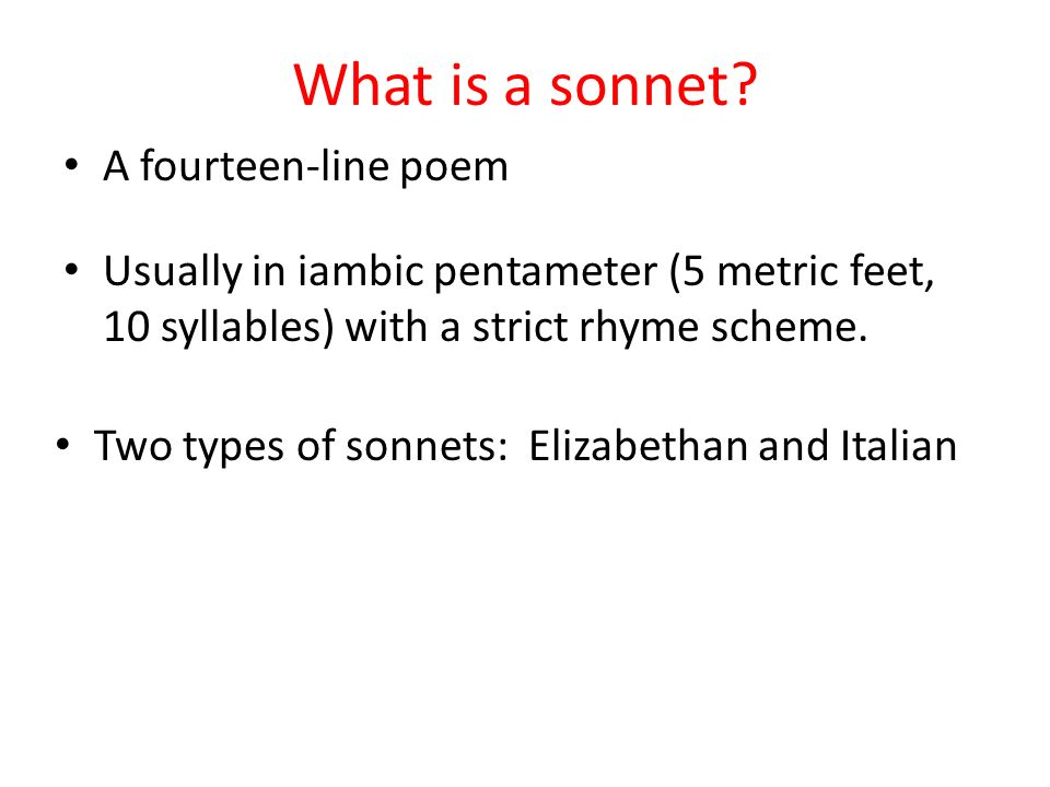 how to write a 14 line sonnet