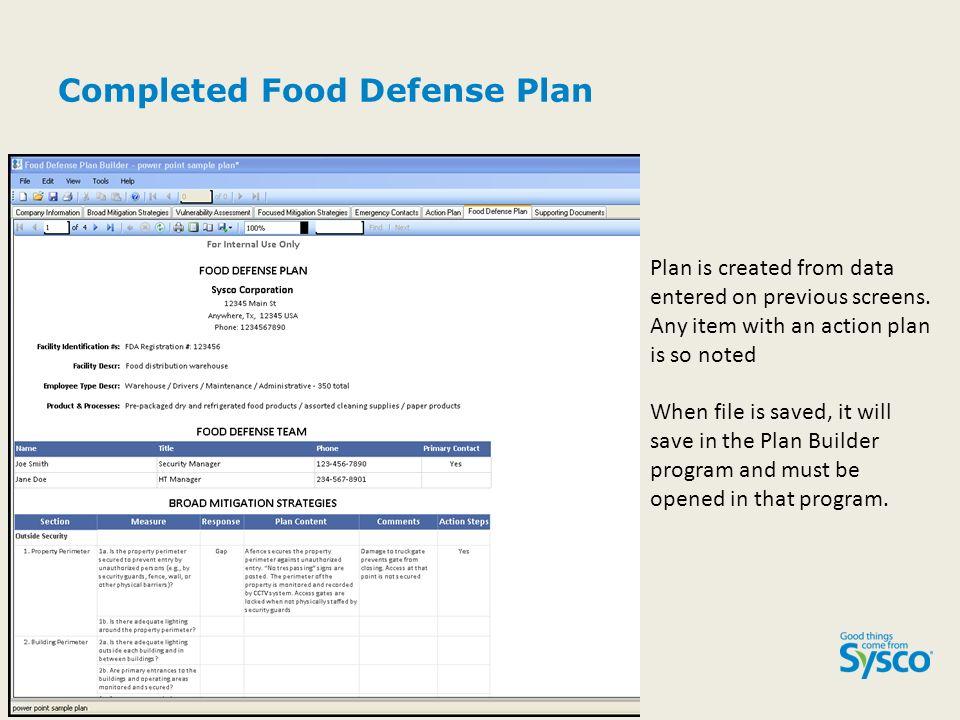 Food defense plan builder ppt video online download for Application plan cuisine