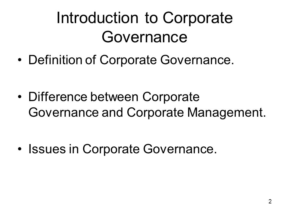 introduction to corporate governance pdf