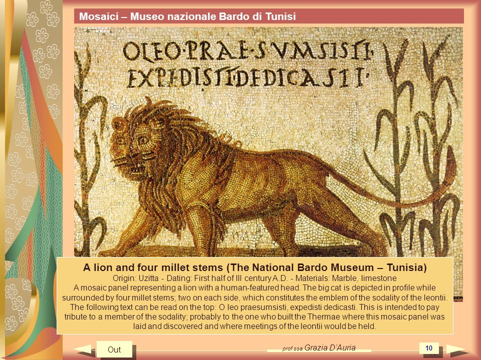 A lion and four millet stems (The National Bardo Museum – Tunisia)