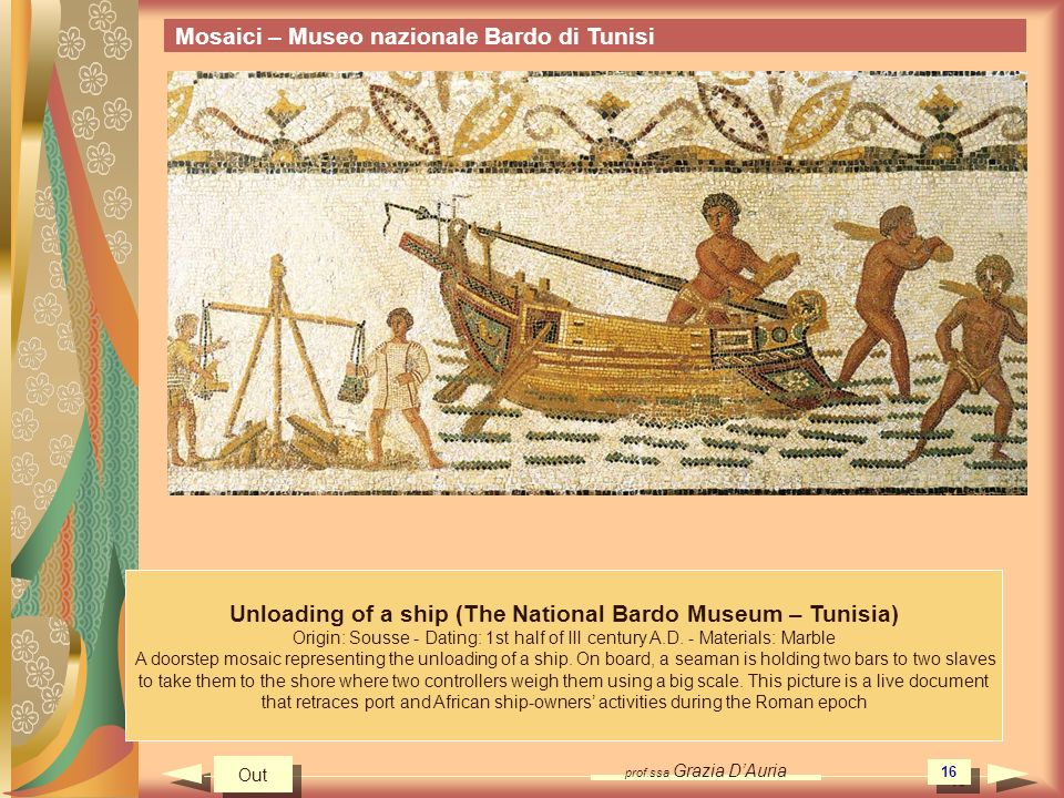 Unloading of a ship (The National Bardo Museum – Tunisia)