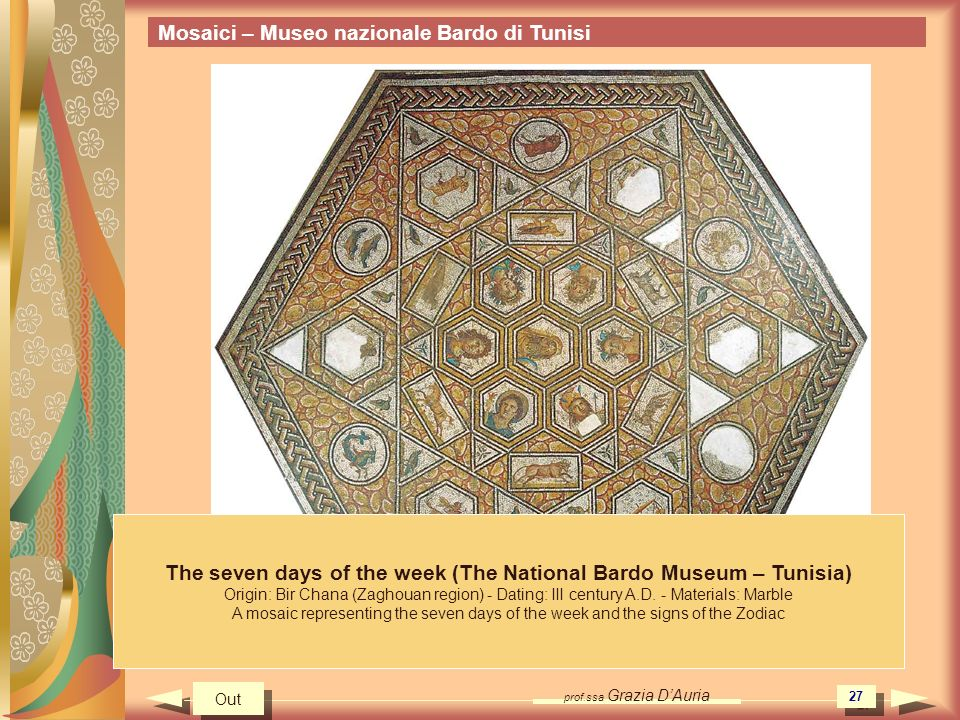The seven days of the week (The National Bardo Museum – Tunisia)