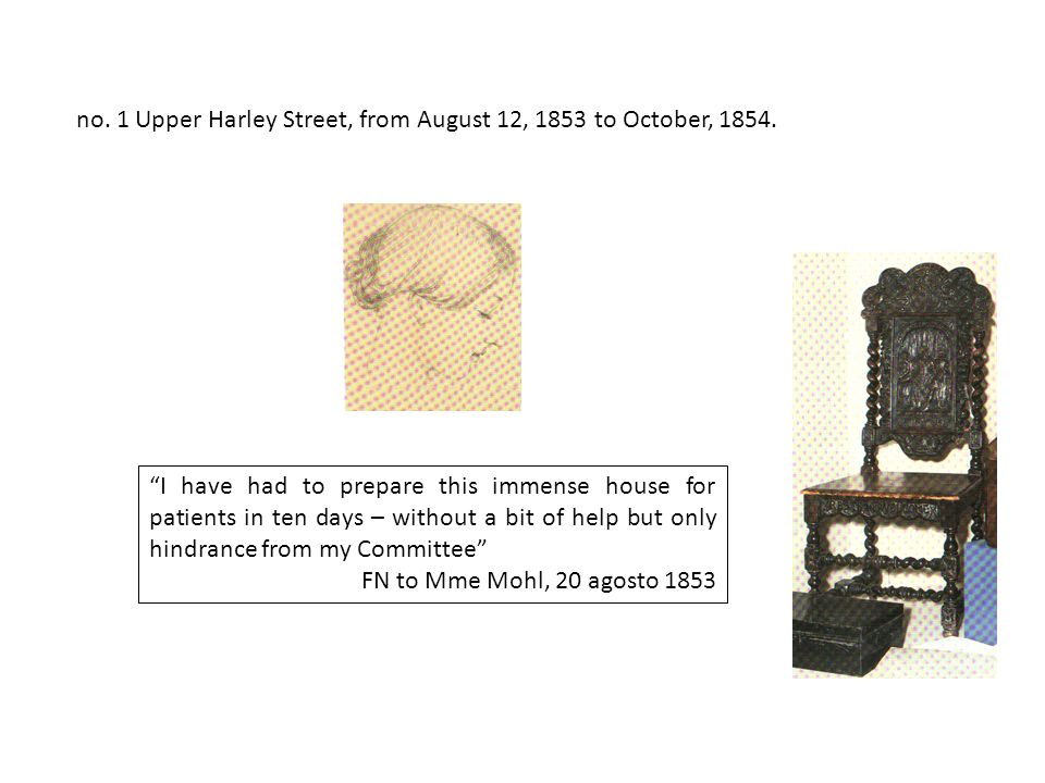 no. 1 Upper Harley Street, from August 12, 1853 to October, 1854.