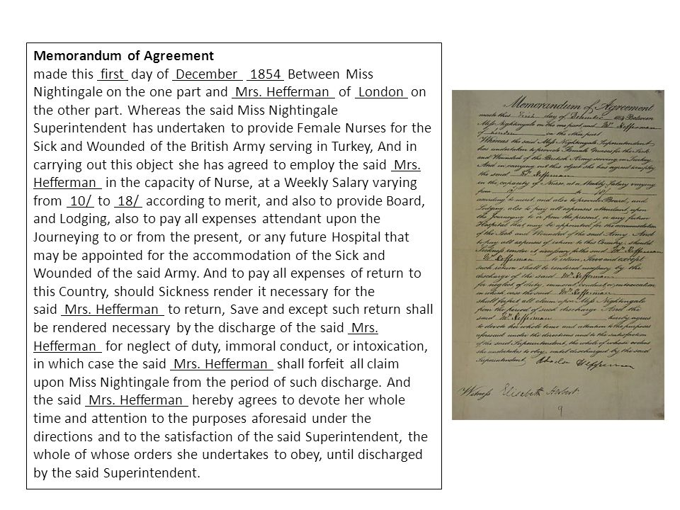 Memorandum of Agreement made this first day of December 1854 Between Miss Nightingale on the one part and Mrs.