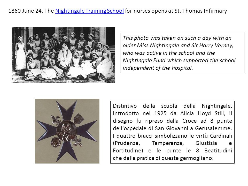 1860 June 24, The Nightingale Training School for nurses opens at St