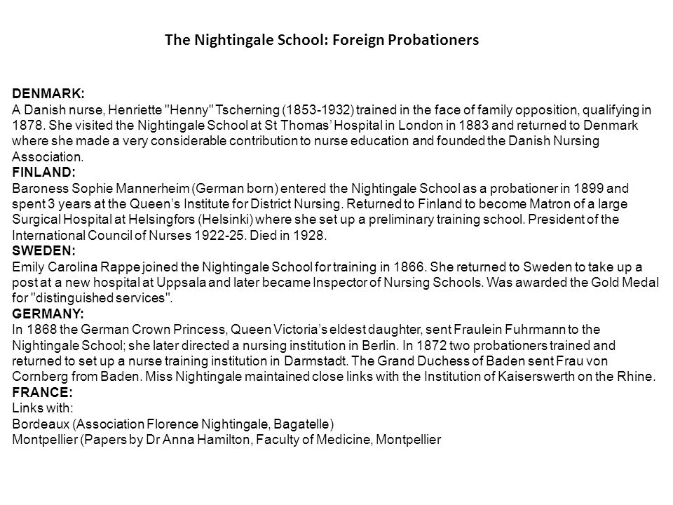 The Nightingale School: Foreign Probationers
