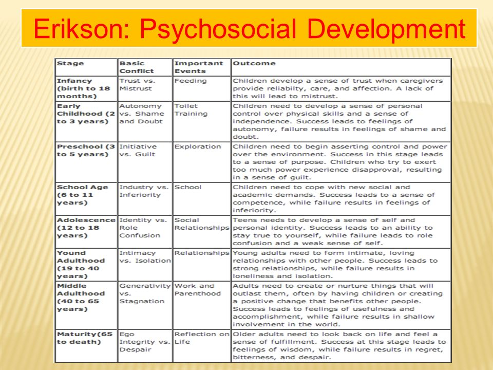 erik erikson s development theory Erik erikson's stages of psychosocial development erik erikson was an ego psychologist that patterned his theories after freud erikson strongly felt that culture and society have an effect on the ego and that a struggle or conflict can begin.