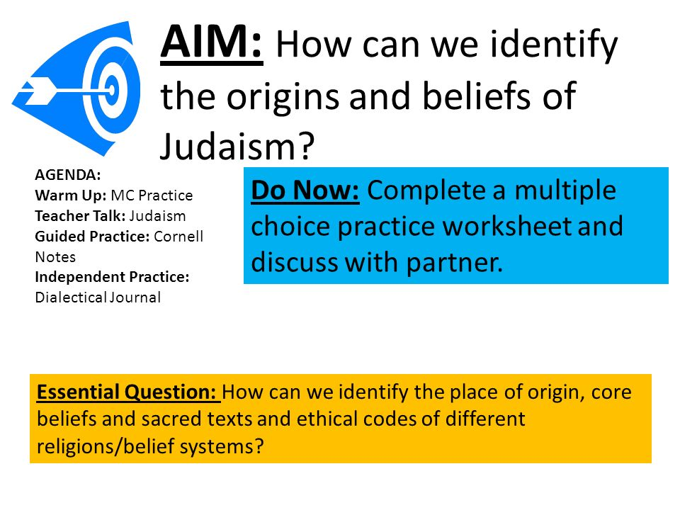 Aim How Can We Identify The Origins And Beliefs Of Judaism Ppt