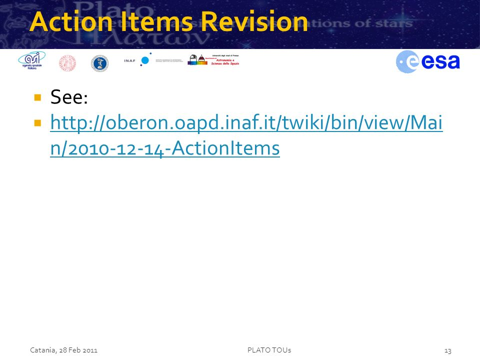 Action Items Revision See: