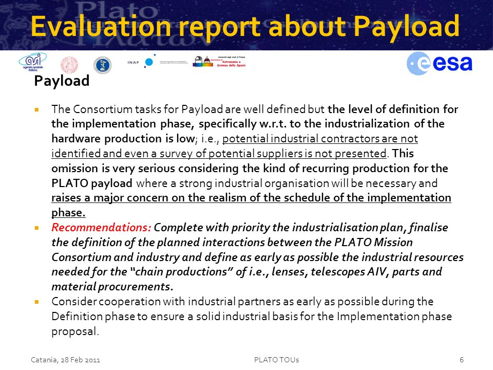 Evaluation report about Payload