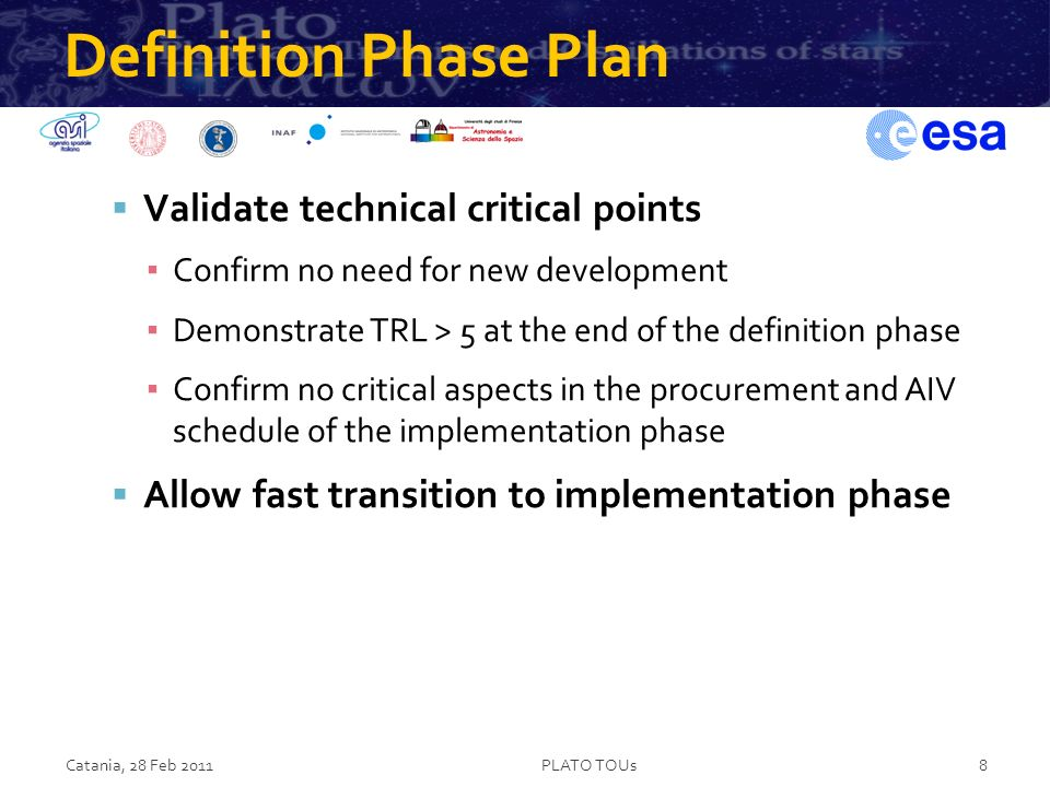Definition Phase Plan Validate technical critical points