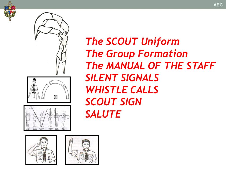 The SCOUT Uniform The Group Formation. The MANUAL OF THE STAFF. SILENT SIGNALS. WHISTLE CALLS. SCOUT SIGN.