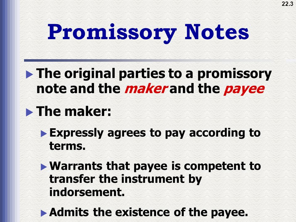 3 Promissory Notes The Original Parties ...  Promissory Note Parties