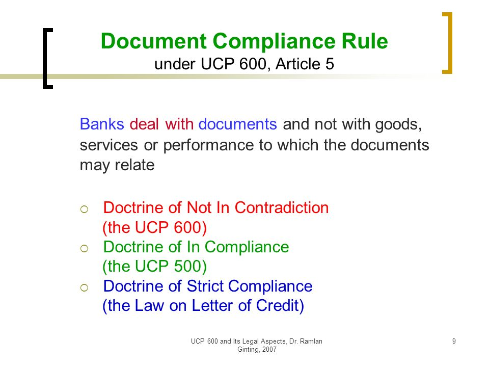 doctrine of strict compliance in letter of credit transactions Dr rosmawani binti che hashim department of business strategy and  letter of credit transactions:  doctrine of strict compliance in letter of credit:.