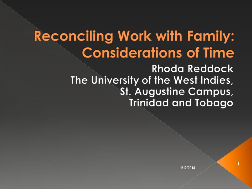 Reconciling Work with Family: Considerations of Time