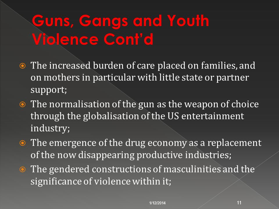 Guns, Gangs and Youth Violence Cont'd