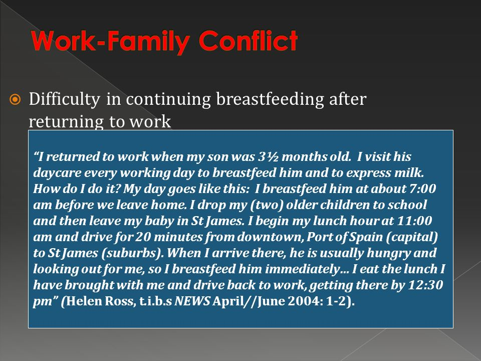 Work-Family Conflict Difficulty in continuing breastfeeding after returning to work.