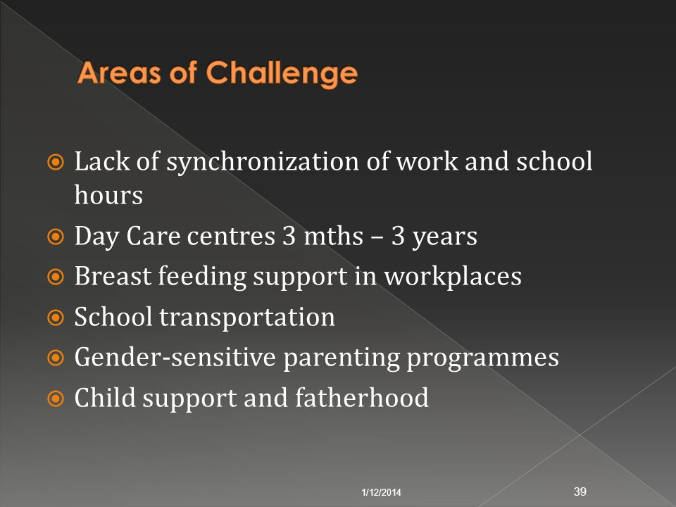 Areas of Challenge Lack of synchronization of work and school hours