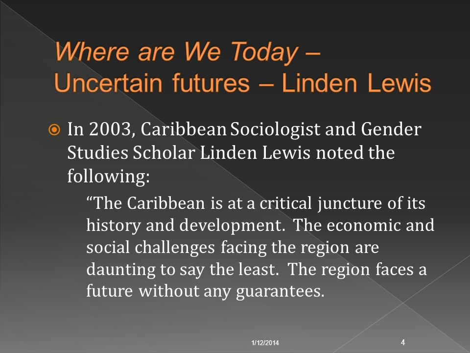 Where are We Today – Uncertain futures – Linden Lewis