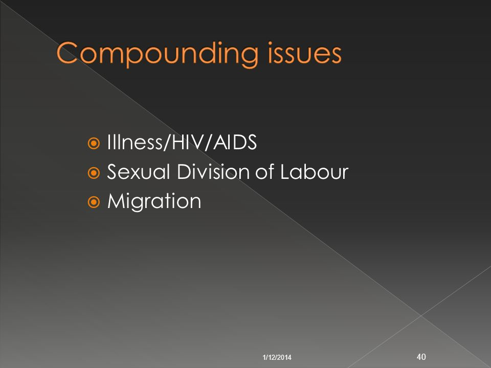Compounding issues Illness/HIV/AIDS Sexual Division of Labour