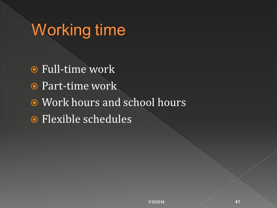 Working time Full-time work Part-time work Work hours and school hours