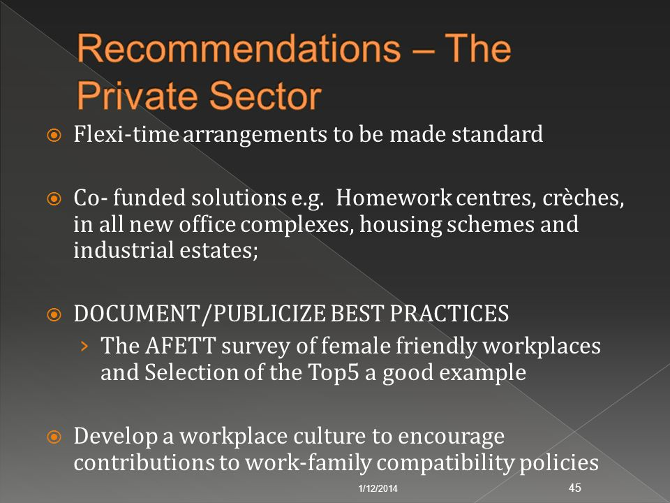 Recommendations – The Private Sector